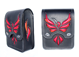 """Fire Hummingbird"" Sissy Bar Bag for Harley-Davidson Softail Slim 2013 motorcycle."
